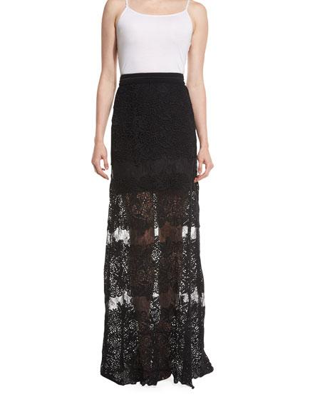 Tayla Floral-Lace Maxi Skirt, Black