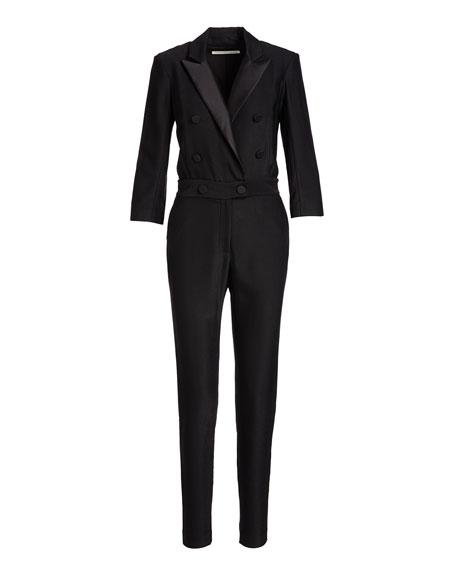Daffodil Taffeta Tuxedo Jumpsuit, Black