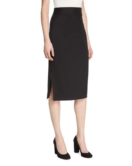 Italian Stretch-Wool Gabardine Pencil Skirt, Black