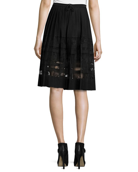 Frances Pleated Lace-Paneled A-Line Skirt, Black