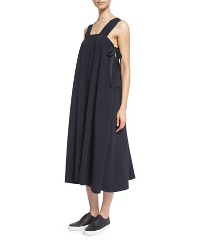 Sleeveless Side-Tie Voile Midi Dress, Navy