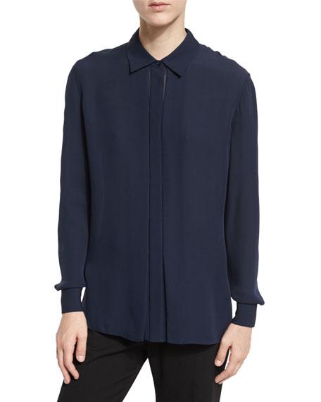Long-Sleeve Silk Blouse, Coastal Blue