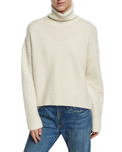 Oversized Knit Turtleneck Sweater, Winter White