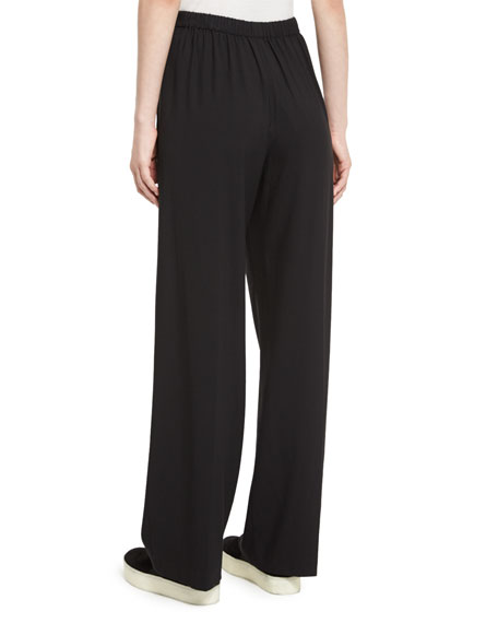 High-Waist Single-Pleat Pants, Black