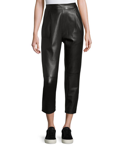 Leather Single-Pleat Cropped Pants, Black