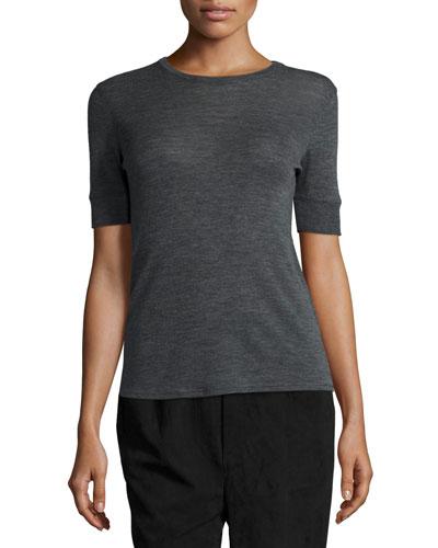 Wool Short-Sleeve Crewneck Sweater