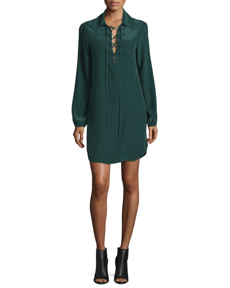 Lace-Up Silk Shirtdress, Spruce