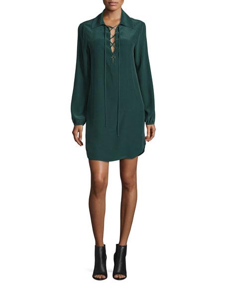 Lace-Up Silk Shirtdress, Spruce