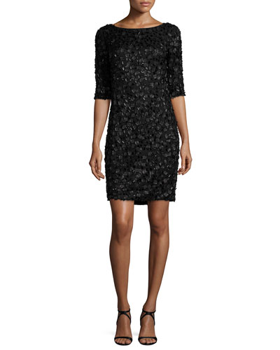 Beaded Lace Cocktail Dress, Black