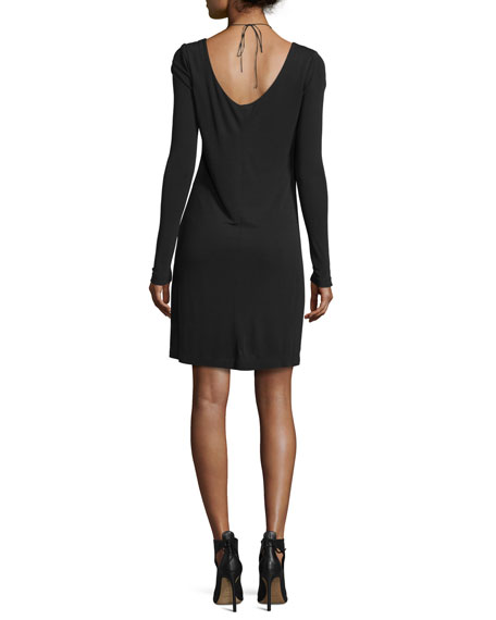 Long-Sleeve Matte Jersey Dress, Black