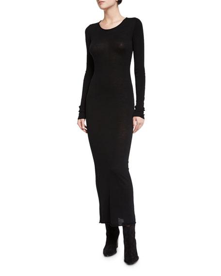 Long-Sleeve Merino Jersey Maxi Dress, Black