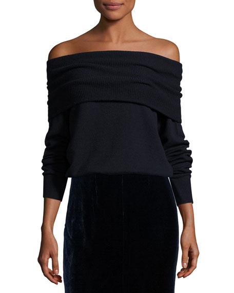 Off-the-Shoulder Wool-Blend Sweater, Marine