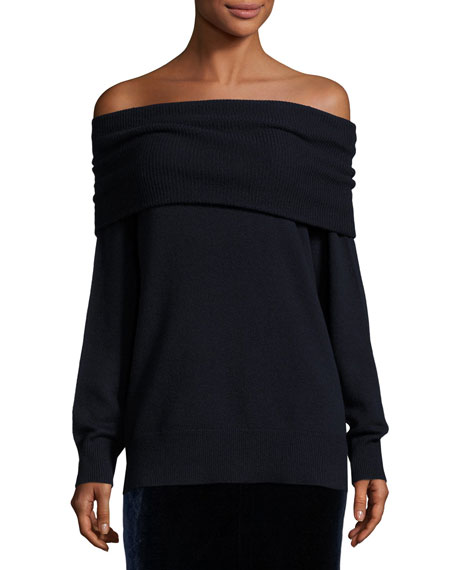 Off-the-Shoulder Wool-Blend Sweater, Marine