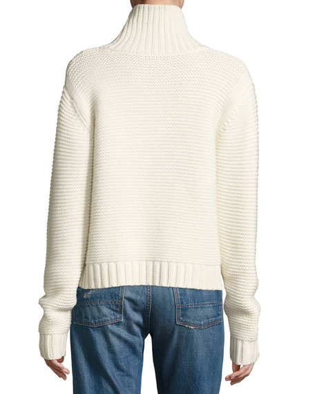 Chunky Cowl-Neck Sweater, Winter White