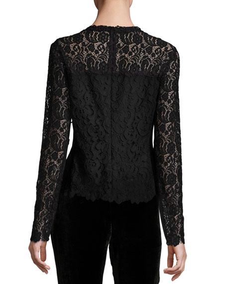 Corbel Long-Sleeve Lace Blouse, Aubergine/Black