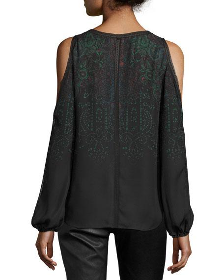 Eliot Cold-Shoulder Printed Silk Blouse, Black