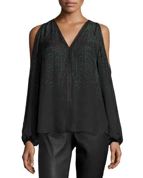 Eliot Cold-Shoulder Printed Silk Blouse, Black