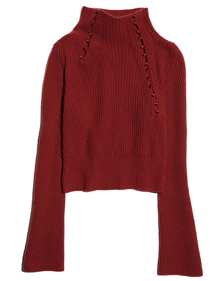 Asymmetric Ribbed Cashmere Sweater, Rosewood