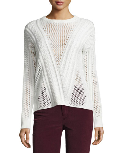 Amory Open-Knit Crewneck Sweater, Ivory