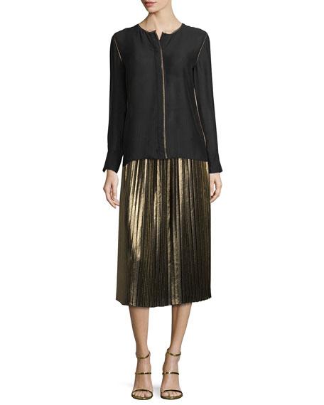 Lucy Pleated Lamé Midi Skirt, Gold