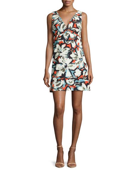 Sleeveless V-Neck Gardenia-Print Mini Dress, Multi