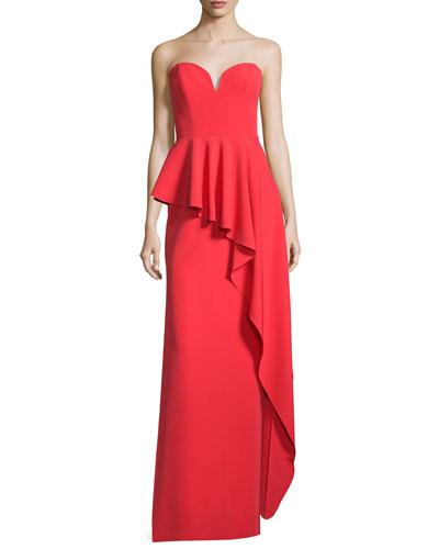 Asymmetric Peplum Strapless Sweetheart Gown, Tomato