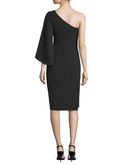 One-Sleeve Ponte Cocktail Dress, Black