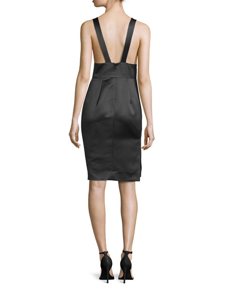 Sleeveless Satin Cocktail Dress, Black