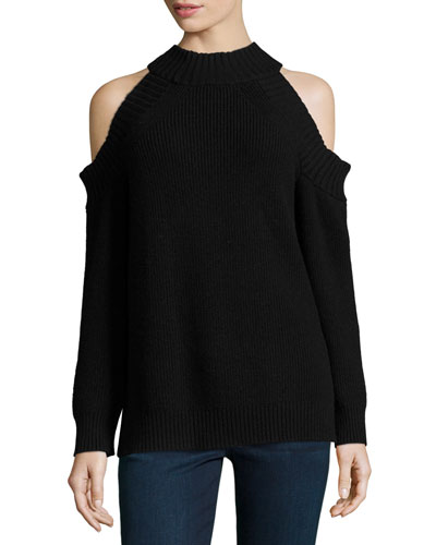 Peekaboo Cold-Shoulder Ribbed Wool-Blend Sweater, Black