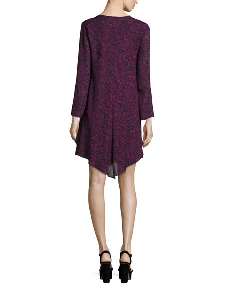 Long-Sleeve Lace-up Swing Dress, Midnight/Multicolor