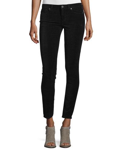 Verdugo Ultra-Skinny Velvet Ankle Jeans, Black Overdye