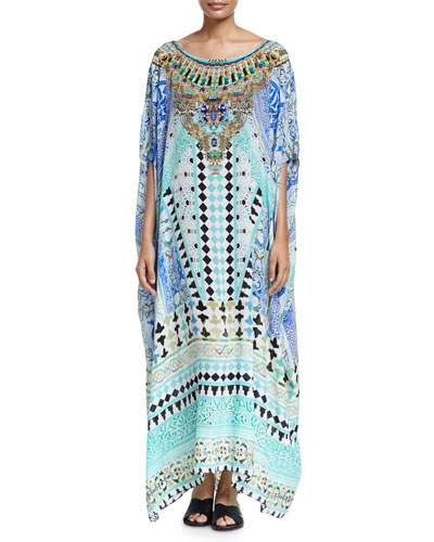 Printed Embellished Round-Neck Maxi Caftan Coverup, Andalusia