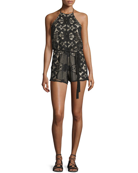 MIGUELINA HARRIET LACE ROPE-BELT ROMPER, BLACK