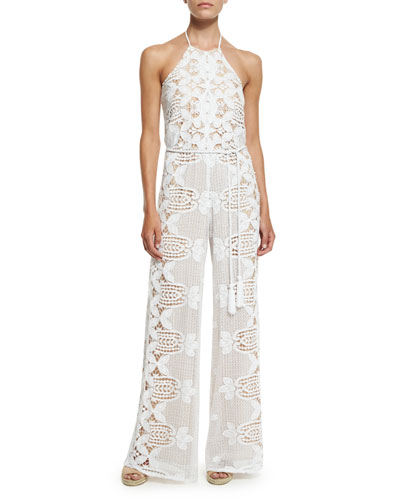 Harriet Lace Rope-Belt Coverup Jumpsuit, Pure White