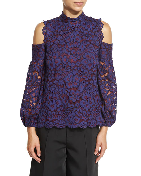 Siri Cold-Shoulder Lace Blouse, Navy