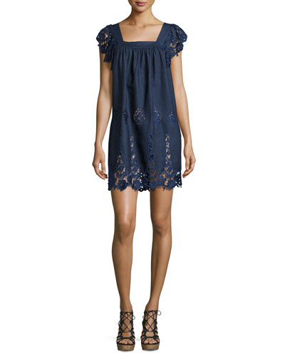 Lucille Chambray Lace Dress