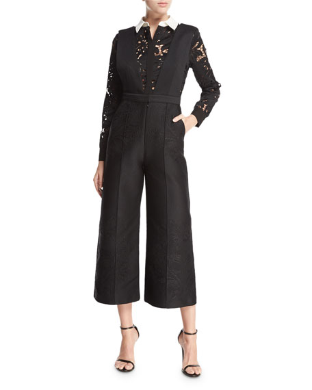 Botanical Crest Long-Sleeve Jumpsuit, Black