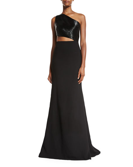 One-Shoulder Asymmetric Beaded Crepe Gown, Black