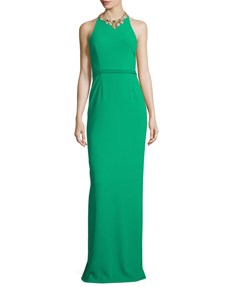 Sleeveless Embellished Halter Column Gown, Emerald