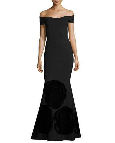 Vivietta Off-the-Shoulder Mermaid Gown, Black