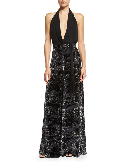 Psycho Velvet Burnout Wide-Leg Pants