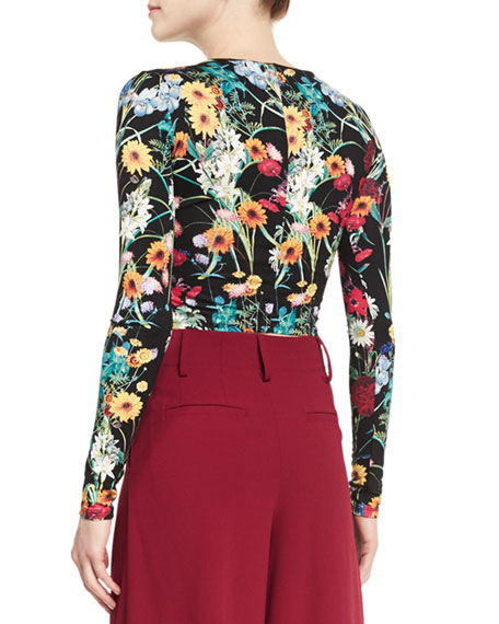 Delaina Floral-Print Cropped Tee