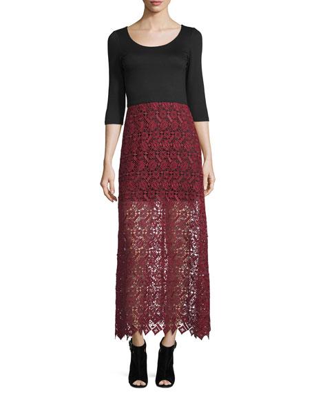 Jojo 3/4-Sleeve Lace-Skirt Dress
