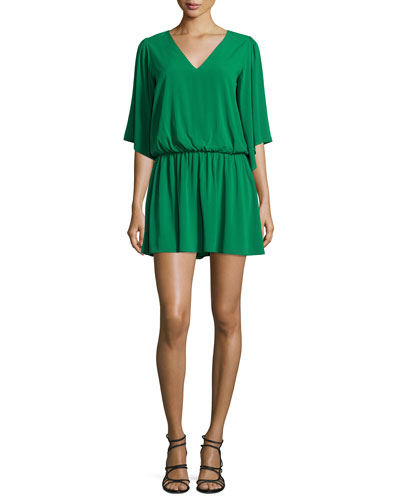 Lyla V-Neck Blouson Dress, Green