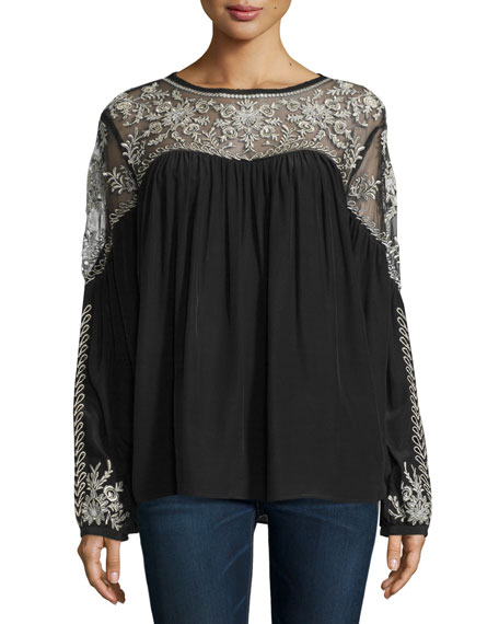 Calypso St Barth Merope Embroidered Top