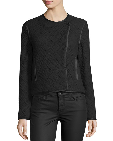 Quincy Quilted Snap-Front Jacket, Black