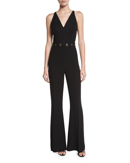 Tilda Sleeveless Flare-Leg Jumpsuit, Black