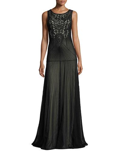 Sleeveless Beaded Tulle Gown, Black