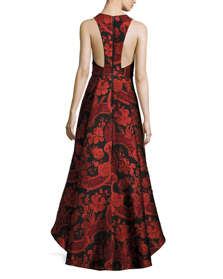 Sleeveless Floral Paisley High-Low Cocktail Dress, Black/Sesame