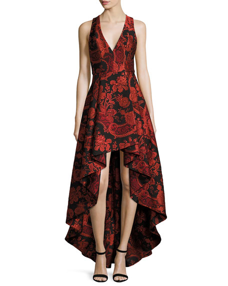 Alice Olivia Sleeveless Fl Paisley High Low Tail Dress Black Sesame